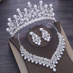 Photo of Vintage Bridal Pearl Crystal Crown Headbands Tiara Necklace …