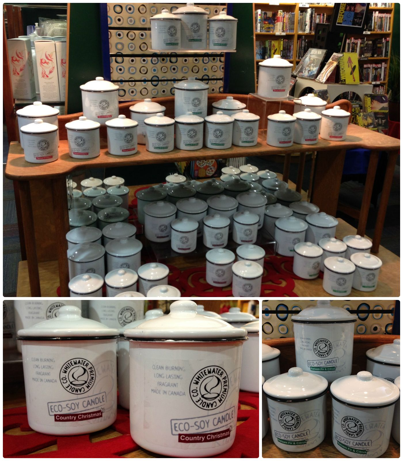 Eco-soy candles made by Whitewater Premium Candle Co. Clean burning, long lasting, fragrant, and made in Canada! Find Front Porch, Country Christmas, Spiced Cranberry, Balsam Fir and Citrus, Cedar Cabin. #candles #soy #MadeInCanada