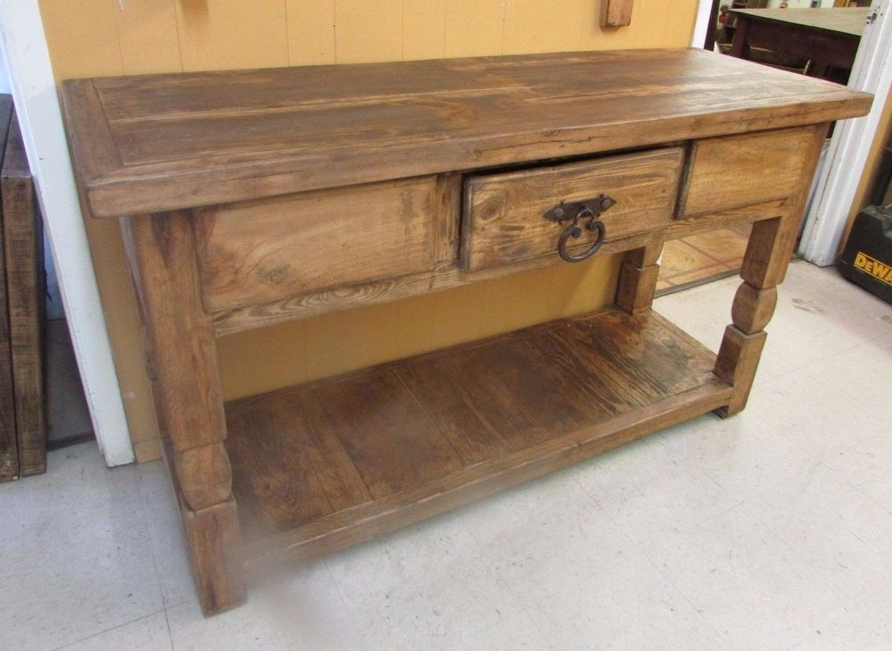 Details about Rustic Pine Sofa Table-Mexican-60Lx21Dx35H ...