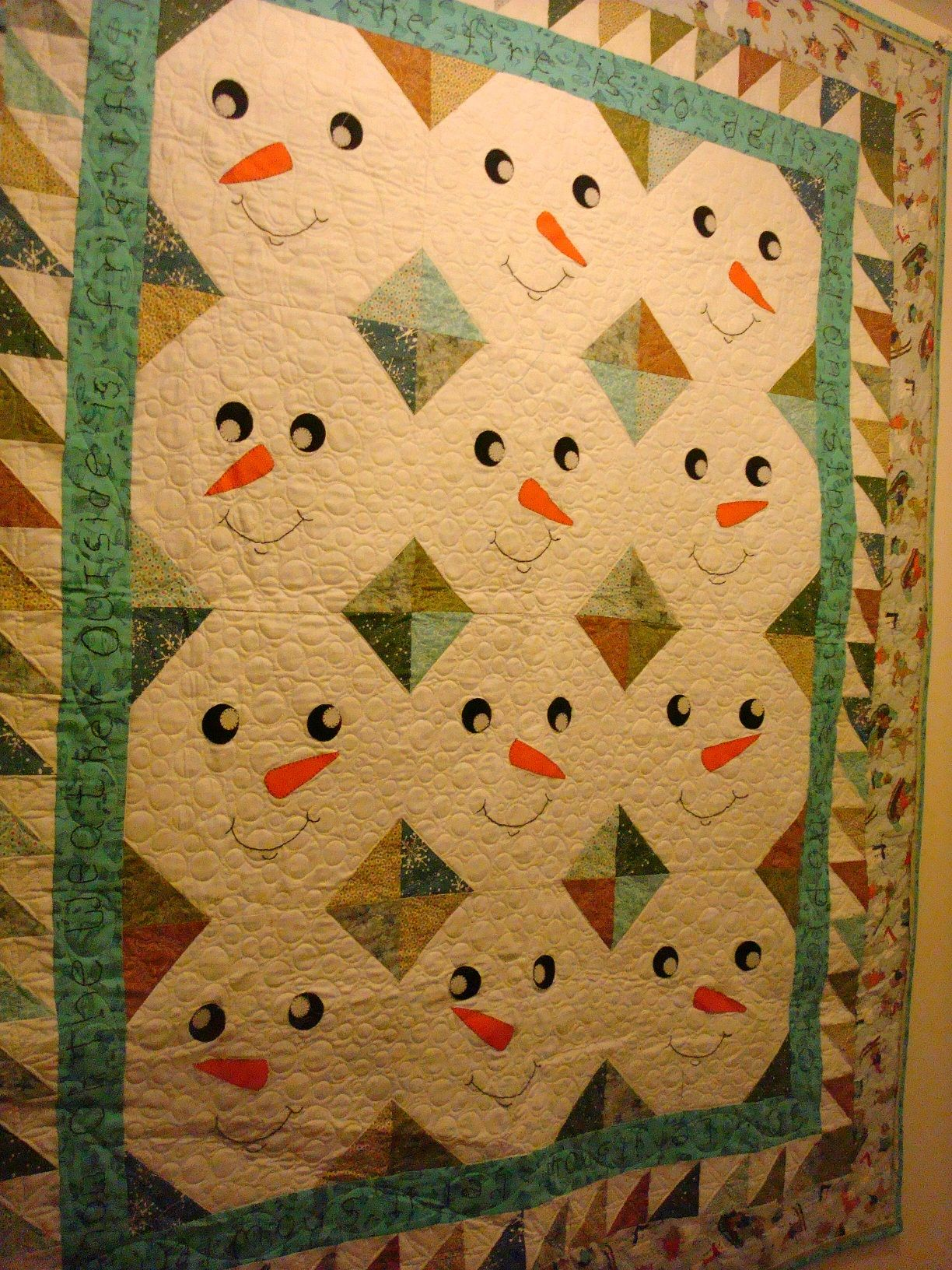 Snowman quilt using Snowball blocks Click to view large image ...