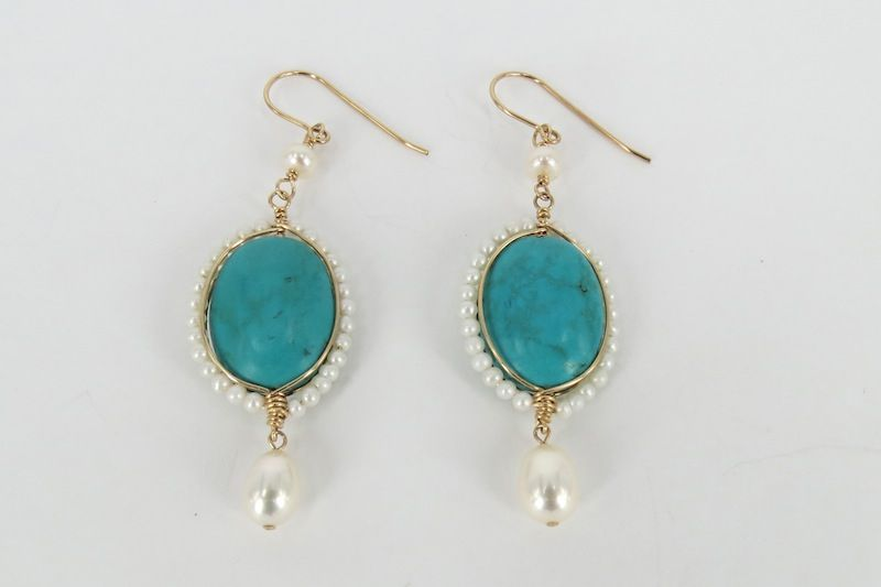 $180.00 Turquoise with Pearls Earrings Beautiful turquoise rimmed with cultured pearls.14k gold-filled. Length: approx. 6.8cm