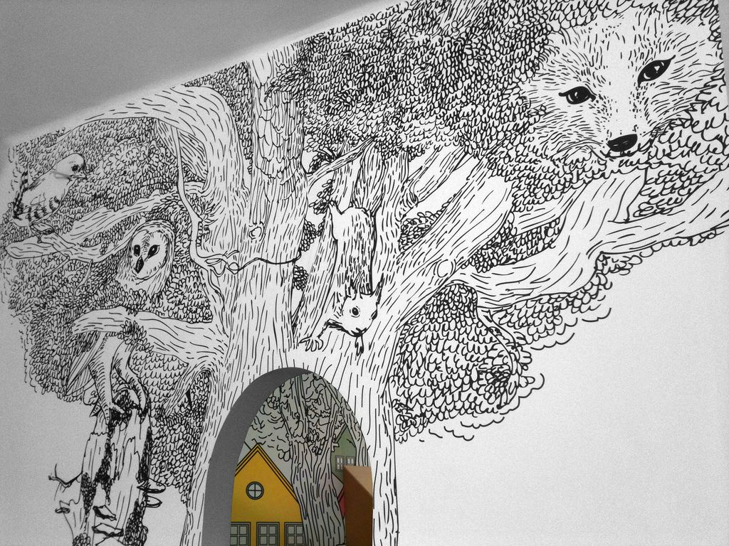 black and white forest mural Mural wall art, Wall