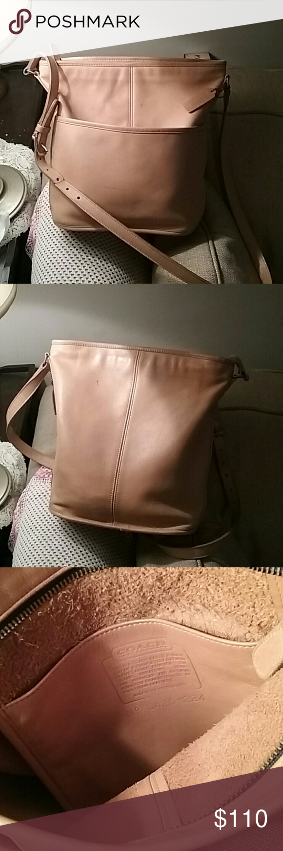 Solid Leather Coach Bucket Bag Beautiful Coach leather bag. Nice and soft. One side pocket. One small pocket inside. Strap in great condition. Not lined all genuine leather. 1 tiny spot  on the back as you can see. Very  minor flaws for a 100% leather purse. Coach Bags Shoulder Bags