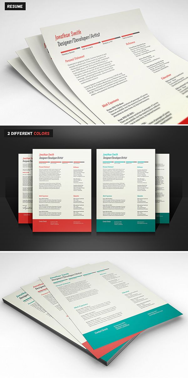 free resume cover letter psd templates 2 colors - Free Resume And Cover Letter Templates