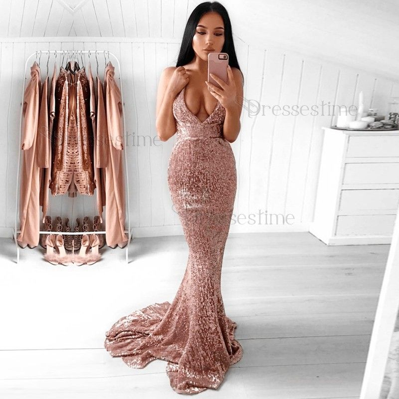 2100c0975e5f Mermaid Spaghetti Straps Backless Sweep Train Rose Pink Sequined Prom Dress