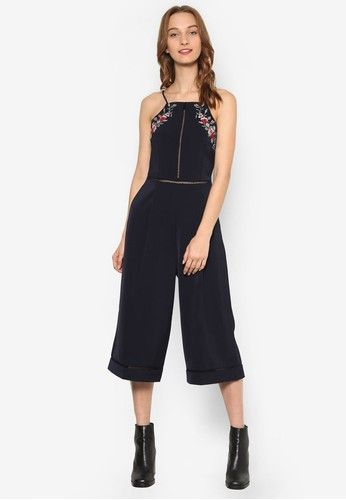 43dd653677e Embroidery Jumpsuit from Something Borrowed in navy 1