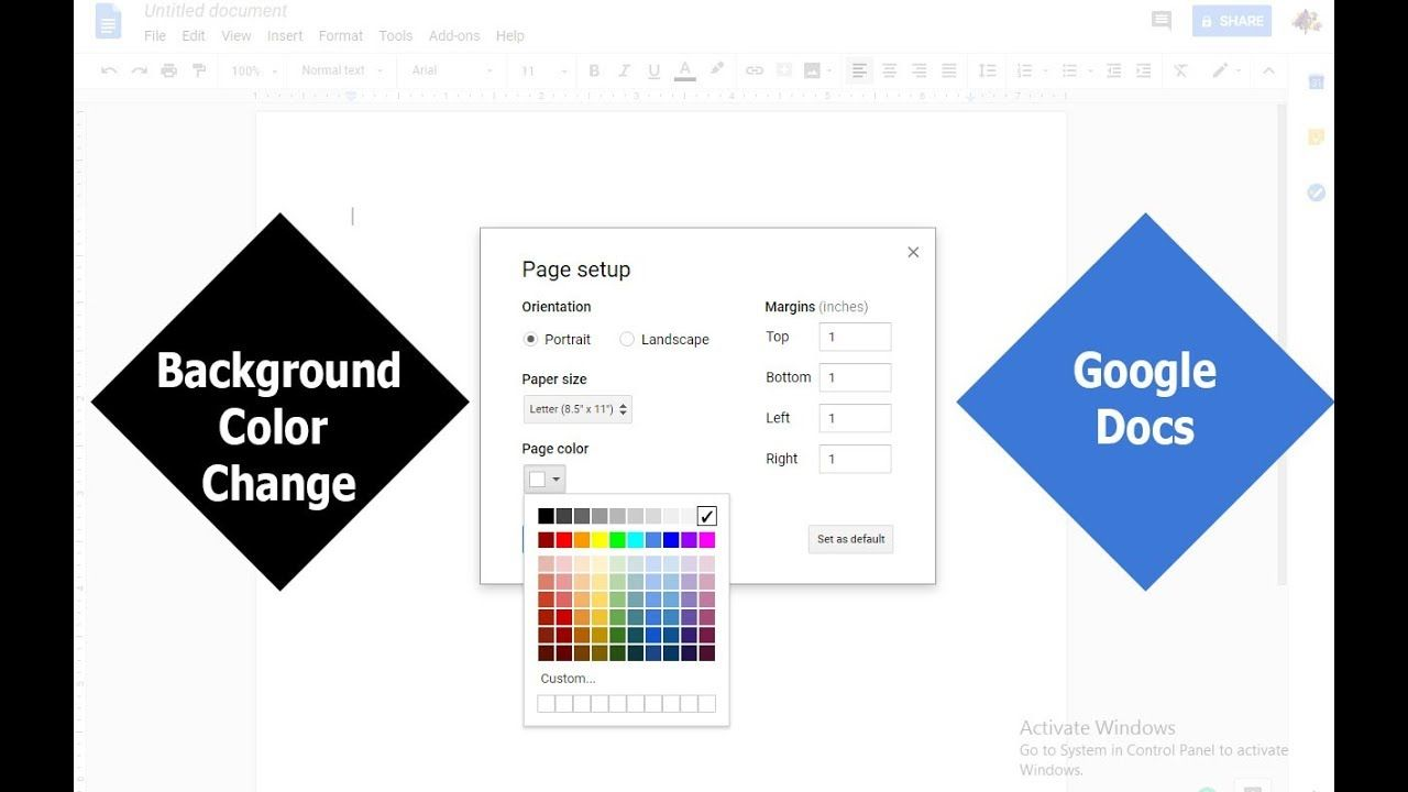 How to change Document Background Color in Google Docs