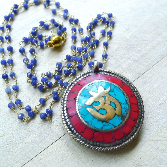 Natural Sapphire Double Wrap Beaded Rosary Necklace with Kalachackra/Om Tibetan Pendant by 137point5