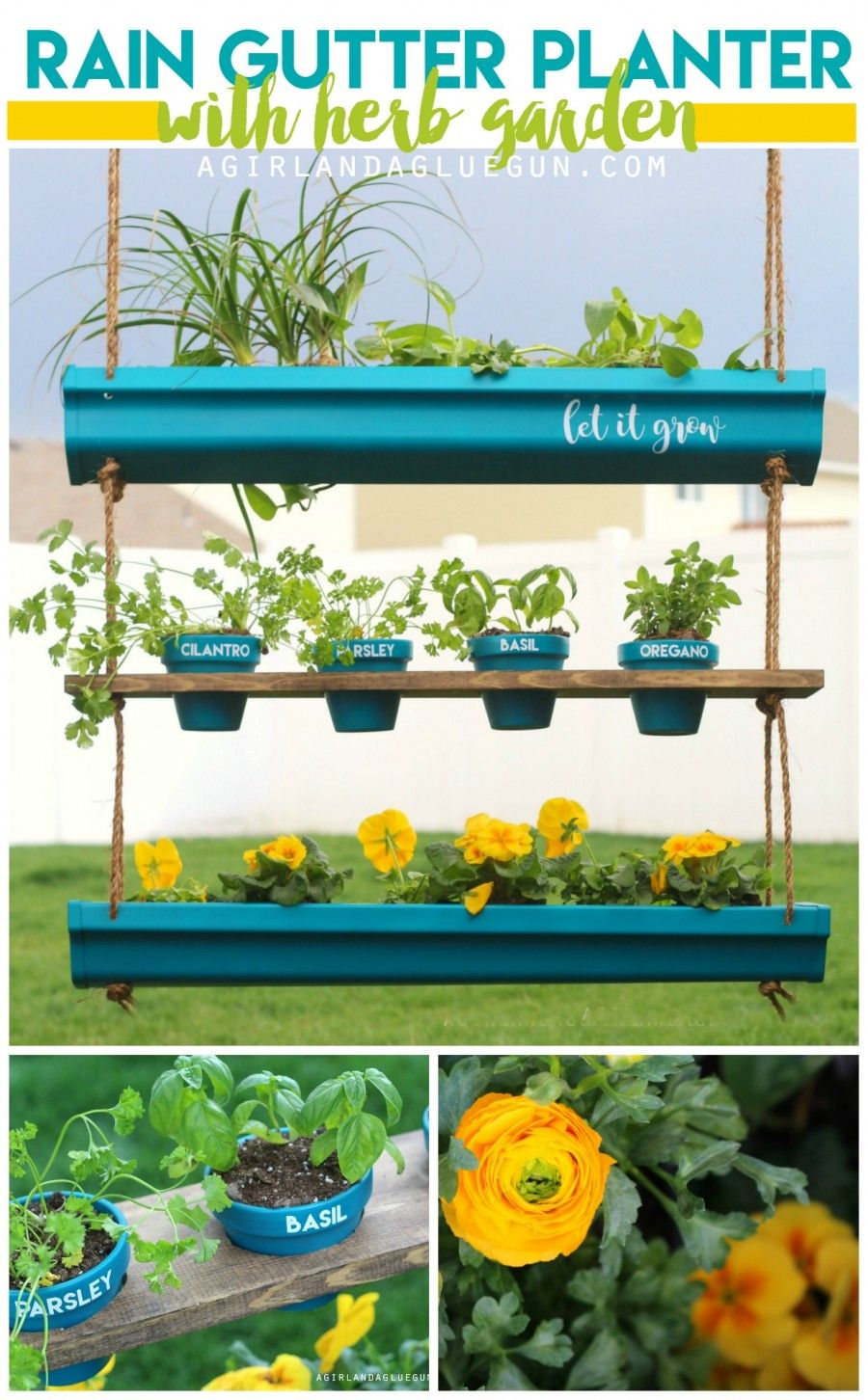 hanging rain gutter planter with herb garden--such a great way to decorate for spring! Perfect for outdoor or indoor! Make it any size you want! #dihworkshop