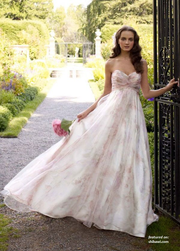 David S Bridal Wedding Dress Strapless Printed Organza Soft A Line Gown Style White Pink Print 8
