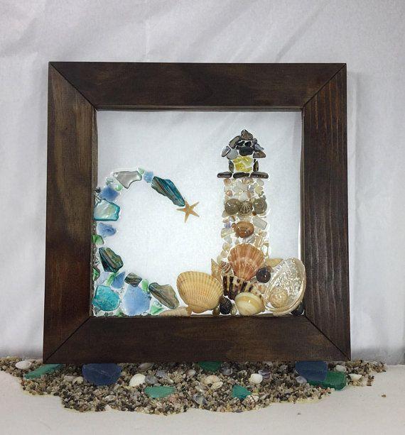 Lighthouse Seascape Sea Glass Wall Art Beach Glass Art Seashell