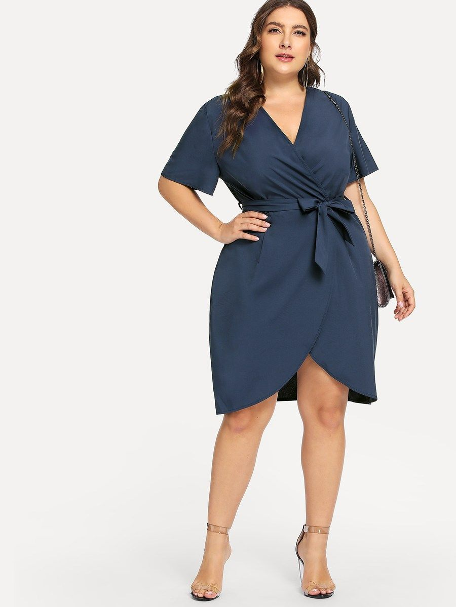 Plus Curved Hem Surplice Wrap Dress Shein Sheinside Curvy Dress Wrap Dress Wrap Dress Curvy [ 1199 x 900 Pixel ]