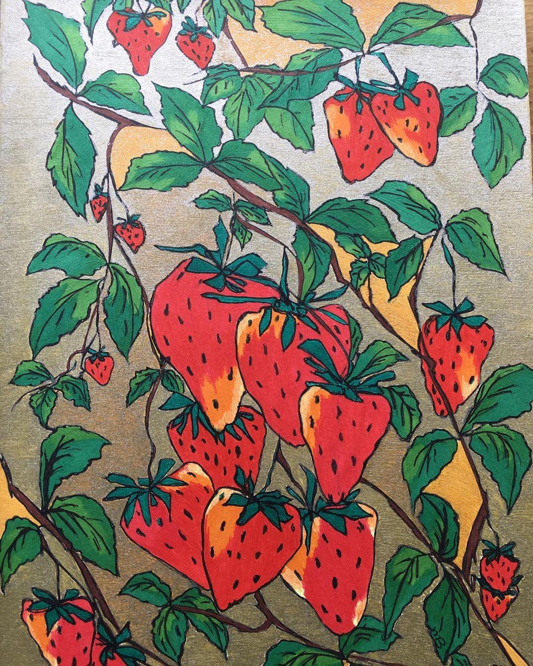 Wild Summer Strawberries Summerart Fruitartist Fruitart Gardenart Lovelystrawberry Happyfruit Resim
