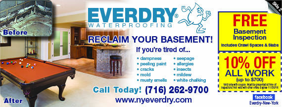 Everdry Buffalo, NY Basement Waterproofing Coupons, Crack Sealing And Flood  Prevention. Valpak Coupon