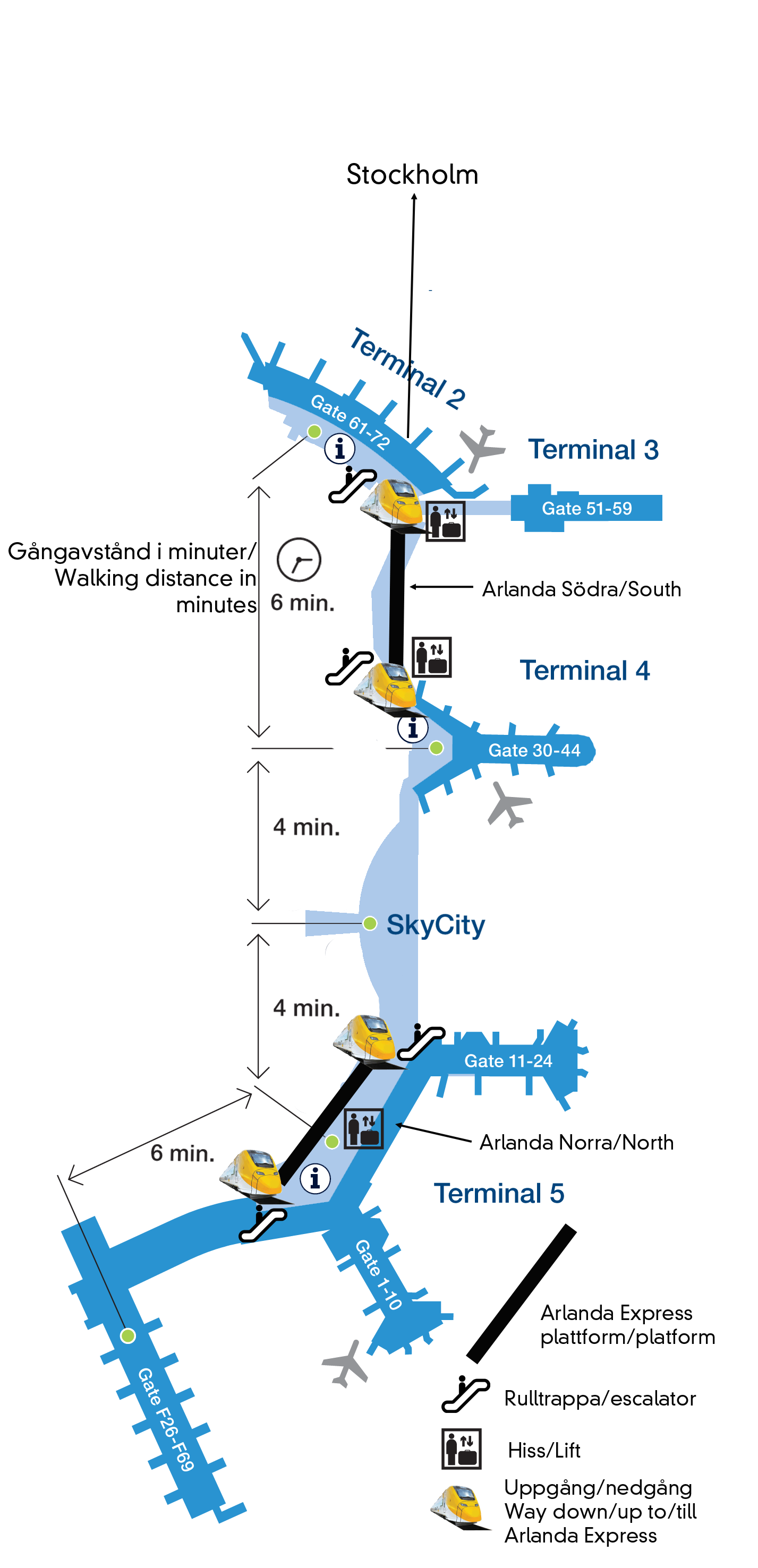 Airport Map Map And Express Terminals Of All Diagram Aviation The Arlanda