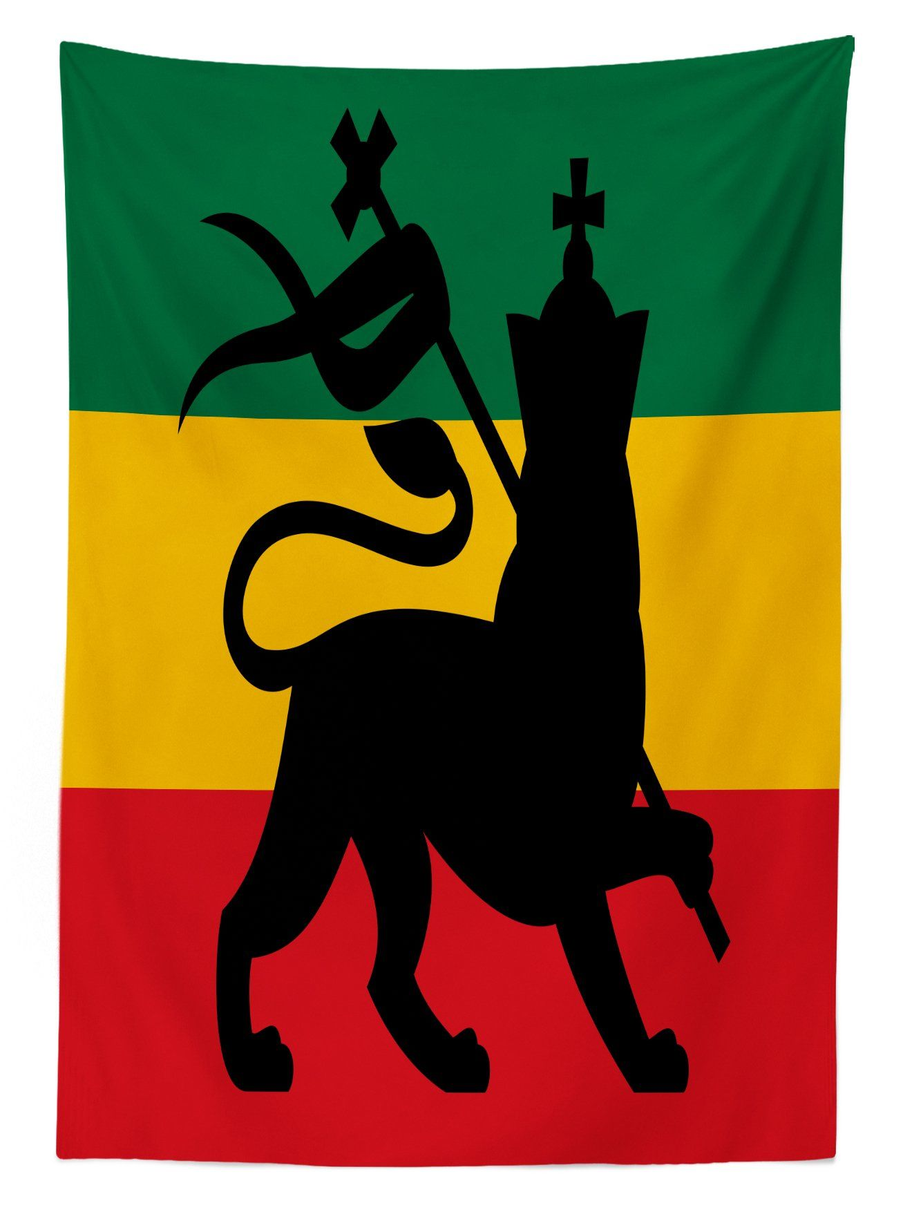 Rasta Tablecloth By Ambesonne Rastafarian Flag With Judah Lion On Reggae Music Inspired Decor Image Dining Room Kitc Table Covers Kitchen Dining Room Ambesonne