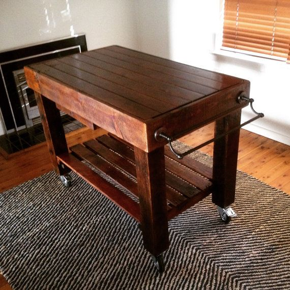 Butchers Block Style Island Bench For Kitchen On Castor Wheels With