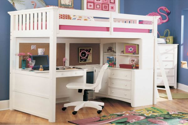 Build Your Cute White Loft Bed With Desk White Loft Bed Kids Loft Beds Girls Loft Bed