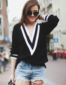 V Neck Boyfriend Sweater-Black | Gorgeous Weather ...