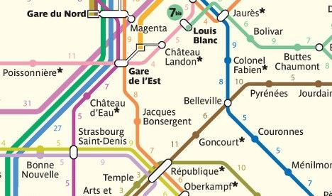 map shows walking times between paris metro stations