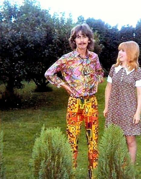 Summer 1967. George with visiting German fan Sylvia Purbs at Kinfauns.     Not Jane but a fan. I don't have the details now.   George with visiting German fan Sylvia Purbs at Kinfauns.