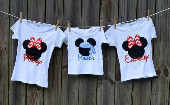 Personalized Pirate Mickey or Minnie Mouse Applique Shirt or Onesie Boy or Girl on Etsy, $25.00