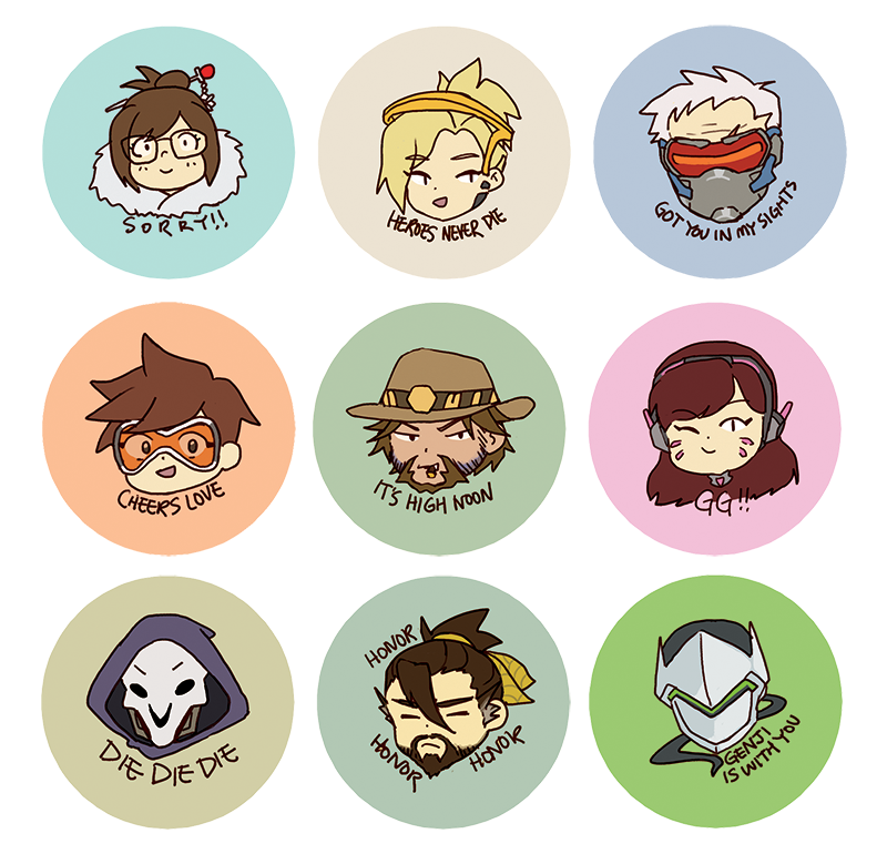 Faiell It Is 1am Before Fanime Day 1 But Here Are Some Last Minute Overwatch Sticker And Button Designs Sticker Design Binder Design Button Design