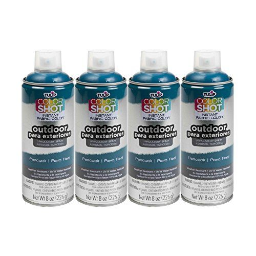 Bulk buy: Tulip ColorShot Outdoor Upholstery Spray Paint 8 oz. 4-pack, Peacock  Works on natural (absorbent) and synthetic (non-absorbent) fabrics and allows the weave of the fabric to show for a more natural appearance  Applies evenly with no drips or splatters  Richly pigmented color that is UV and weather resistant to reduce fading  Dries quickly and soft to the touch and won't rub off on clothing  Ergonomic spray pump reduces Hand fatigue and increases spray control