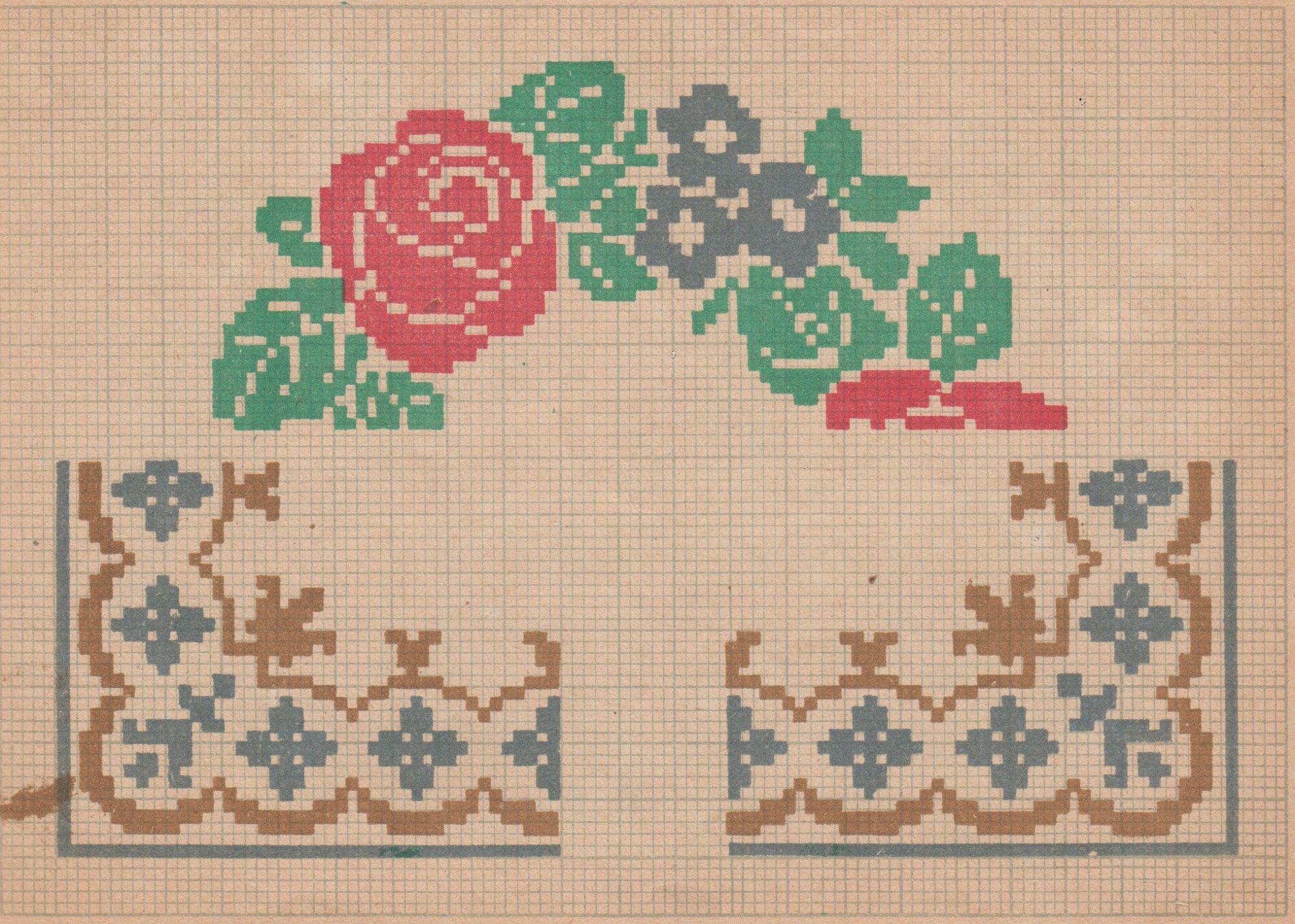 Схемы вышивки рисунок для салфеток