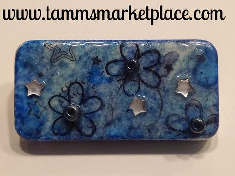 Blue Domino Pin with stamped flowers and jewels MKP001 – Tamm's Marketplace