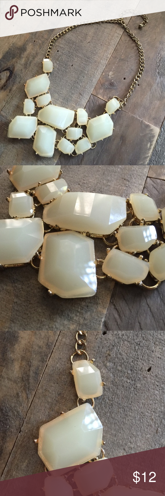 Statement Necklace Asymmetrical Antique White Stone design, faux gold link + clasp hardware Jewelry Necklaces