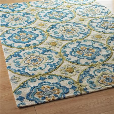 Sculpted Suzani In Blues On Ivory 84 3 Round Rugs