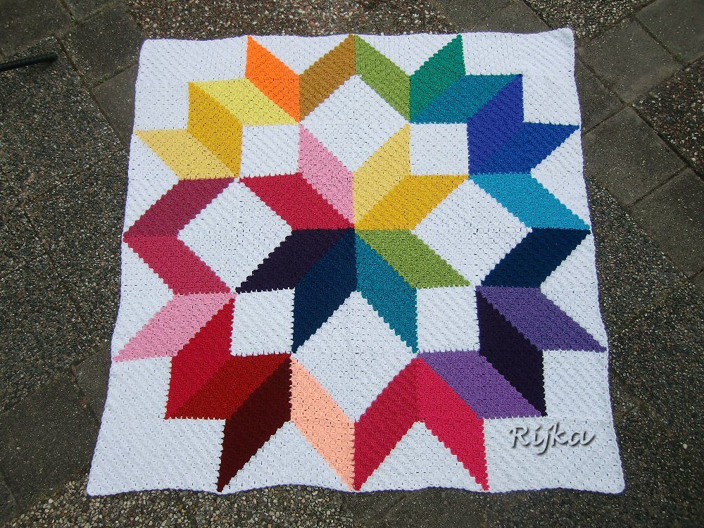 Carpenter\'s Wheel Afghan in C2C (corner-to-corner) squares, free ...