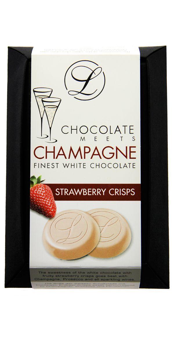 #Belgische #Schokolade, weiß mit Erdbeercrisps. Passt zu Champagner, Prosecco und Sekt.