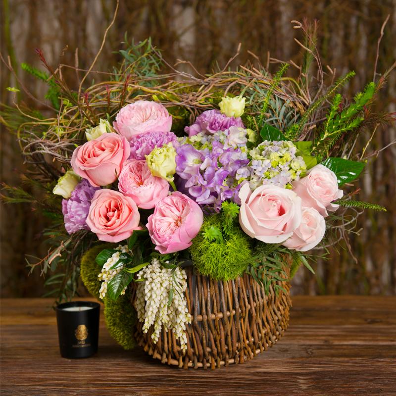 English Garden Basket In Soft Tones