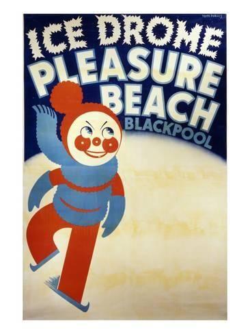 pleasure Vintage beach blackpool poster