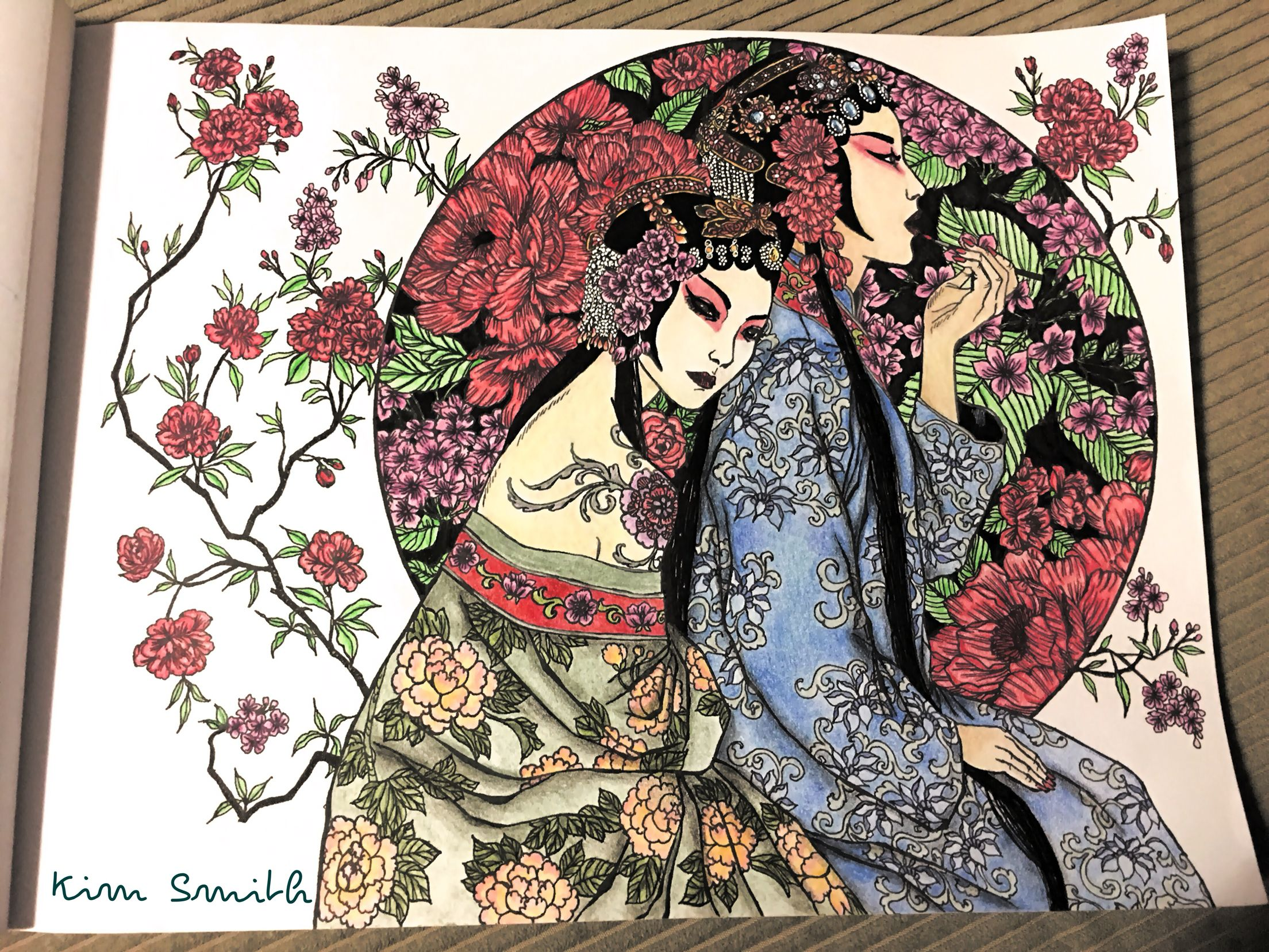 Japanese Ladies Moon Blossoms Katrina Pallon Coloured By Kim Smith Coloring Books Adult Coloring Pages Color Inspiration