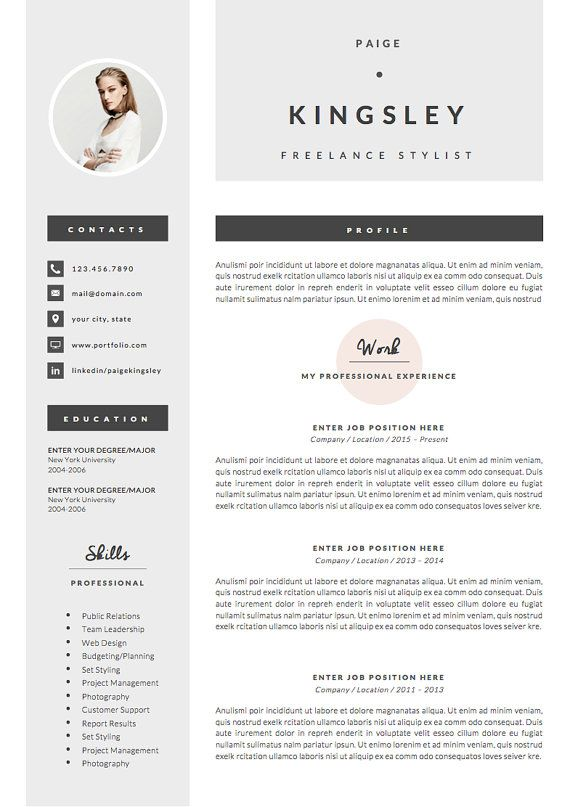 Professional Resume Template  Cover Letter + Icon Set for Microsoft