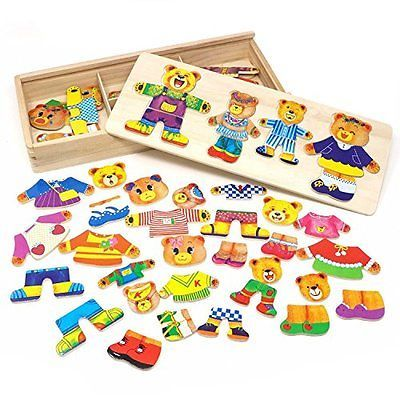 Toy Lewo Wooden Puzzle Girls Toys Bear Family Dress Up Puzzle Games for Kids 72