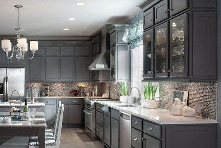 Harper Maple In Greyloft With A Contrasting Cabinet Back Soothing Aegean Lifts The Spirits This Airy Kitchen Island Legs Moldings And Timeless