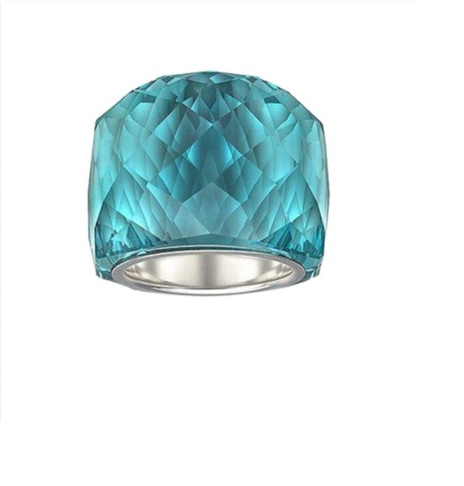ab crystal ring aurora borealis rainbow engagement wedding rectangle white 5 NWT