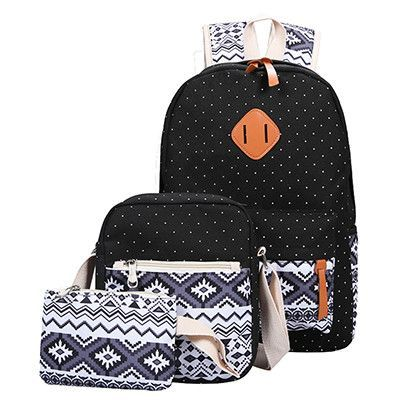 931d4c0980e2 3 PC Set Stylish Canvas Printing Backpack Women School Bags for Teenage  Girls Cute Book bags Laptop Backpacks Female Sac A Dos