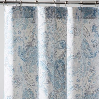 Tranquil Paisley Sky Blue Shower Curtain With Images Paisley