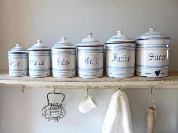 French Enamel Canister 6 Superb Antique French by myfrenchycottage