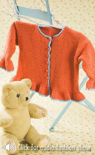 Ruffled jacket....Free Pattern from Caron Yarns!! @Af\'s 25/2/13 ...