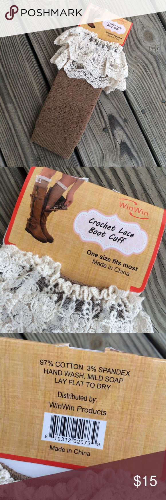 NEW Crochet Lace Boot Cuffs New pair of brown crochet lace boot cuffs. One size fits most. Accessories