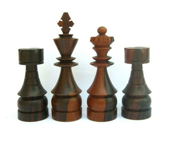 14 Vintage Oversize Chess Pieces Large Wooden By Ourmodernhistory