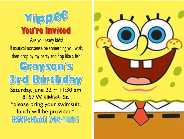 Diy 3d Spongebob Invitations Westyns 2nd Spongebob Birthday