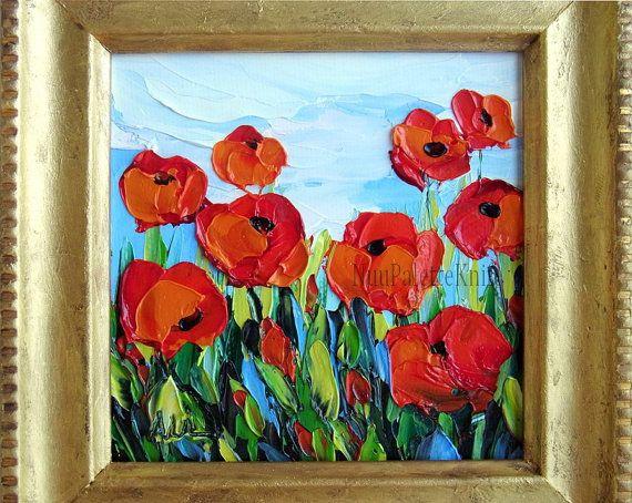 Poppy small oil painting flower framed art mini by nuupaletteknife