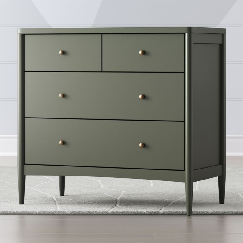 Kids Hampshire 4-Drawer Olive Green Dresser images